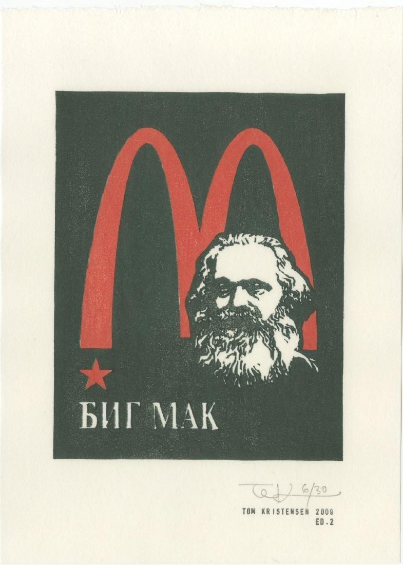 Tom Kristensen - M is for Marx #6/30 woodblock 2009