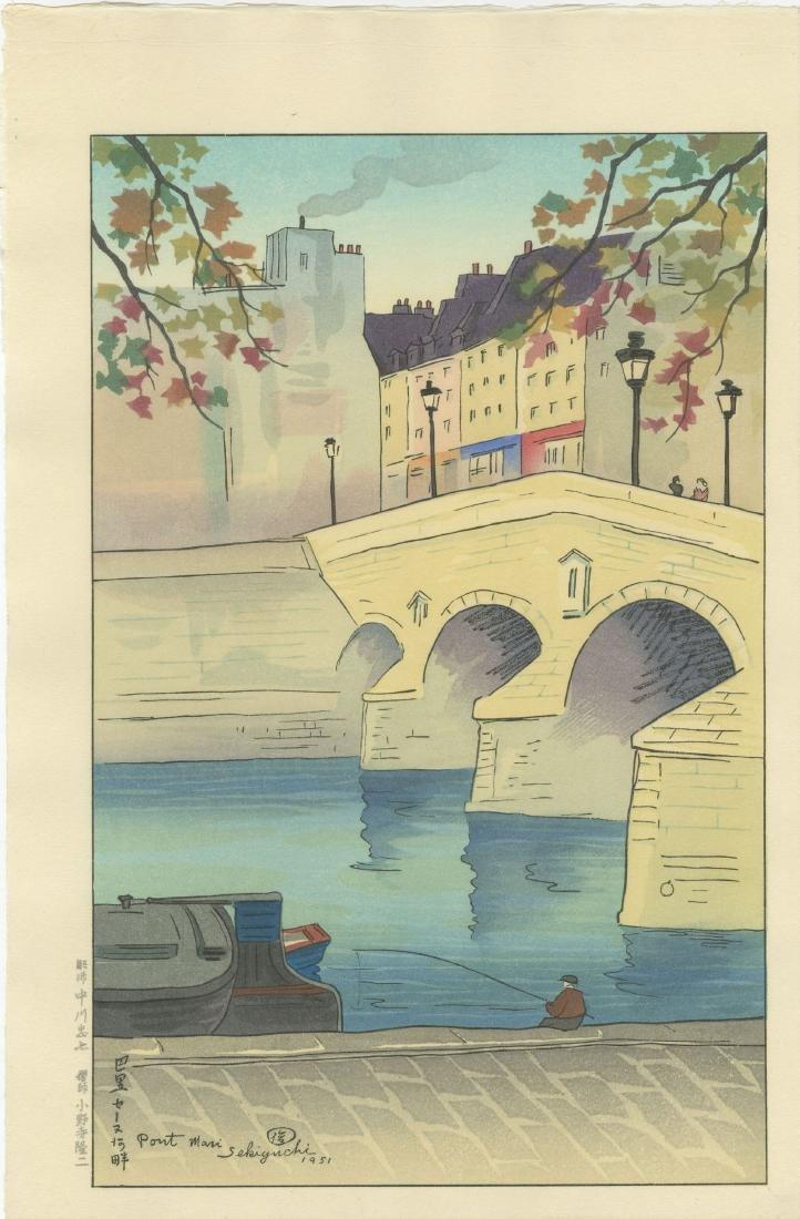 Sekiguchi - Pont Mari Bridge, France 1951 woodblock