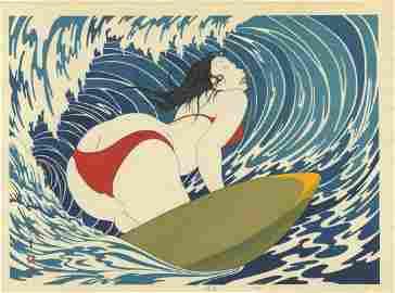 Yoshio Okada: Surfer Girl Woodblock 1st/only edition