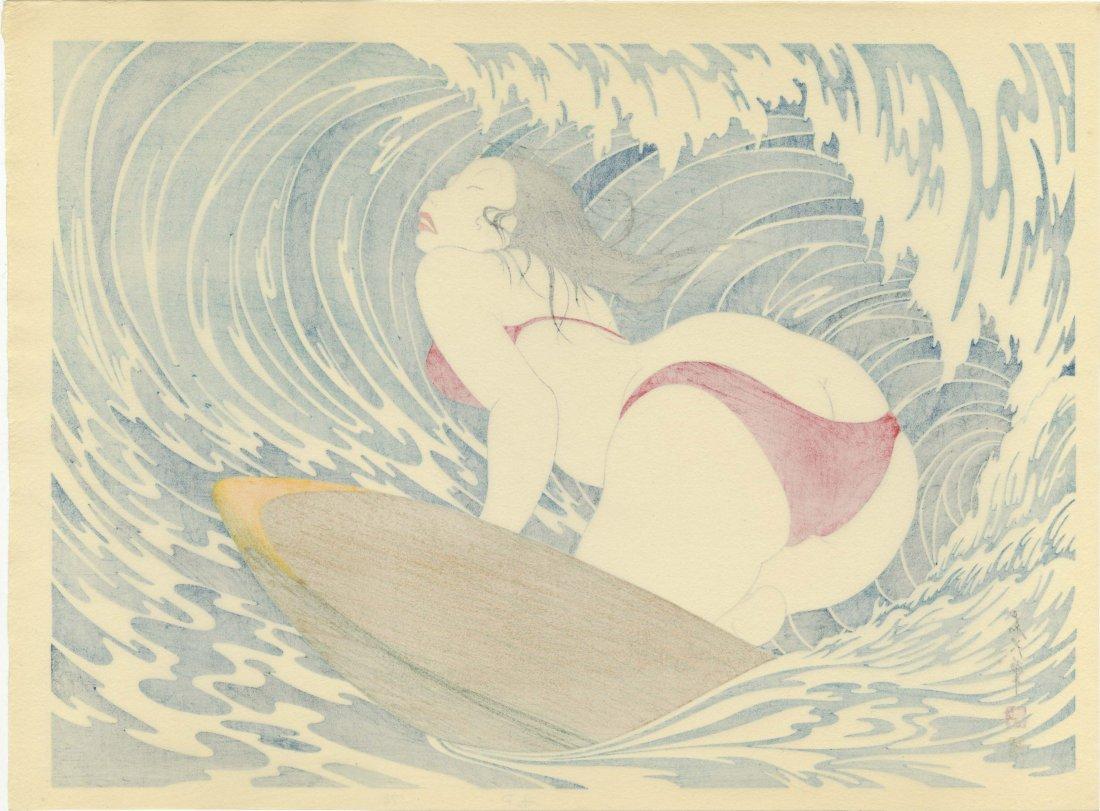 Yoshio Okada: Surfer Girl Woodblock 1st/only edition - 2