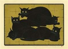 Nishida Tadashige: Black Cats 2000 Woodblock 1st Ed.