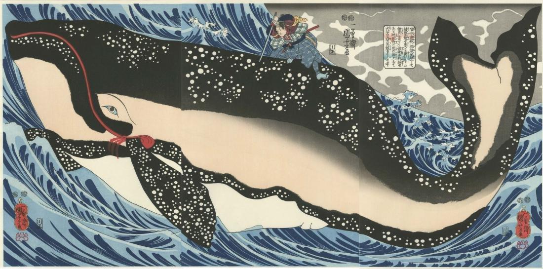 Kuniyoshi: Miyamoto Subduing Whale Triptych Woodblock