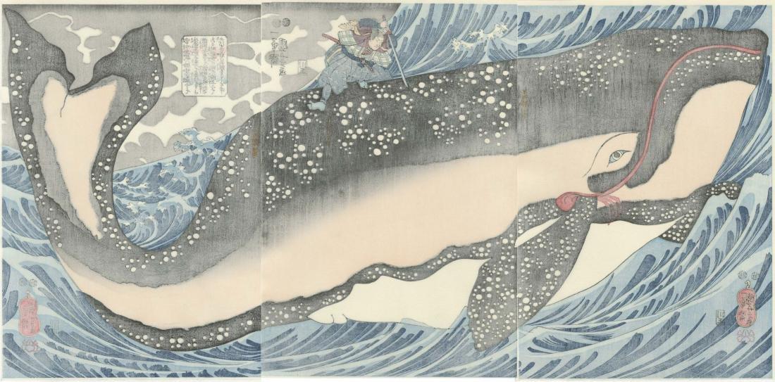 Kuniyoshi: Miyamoto Subduing Whale Triptych Woodblock - 5