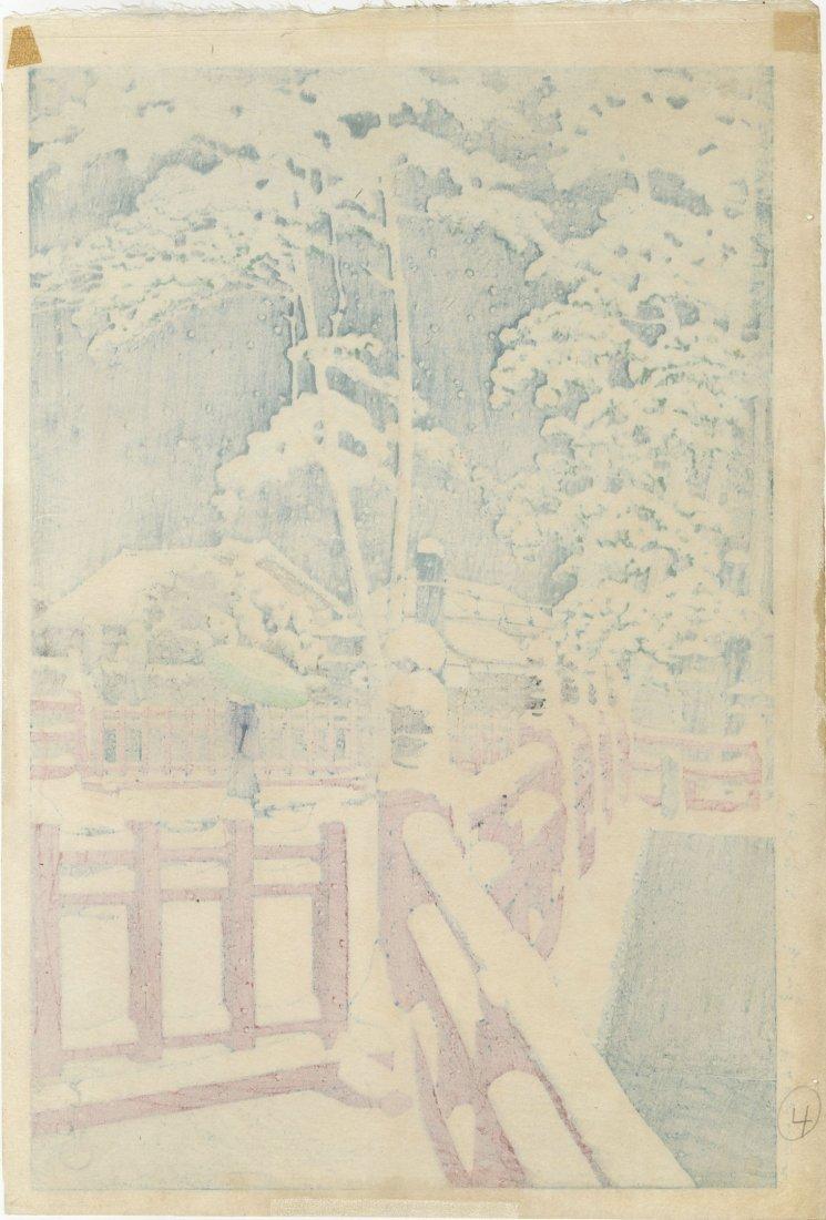 Hasui Kawase: Yagumo Bridge in Snow 1934 Woodblock 6mm - 2