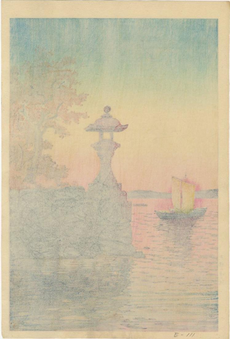 Koitsu Tsuchiya: Sunset Yabase 1933 Woodblock - 2