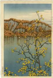 "Hasui: Senjo Cliff, Lake Towada 1933 ""D"" Seal Woodblock"