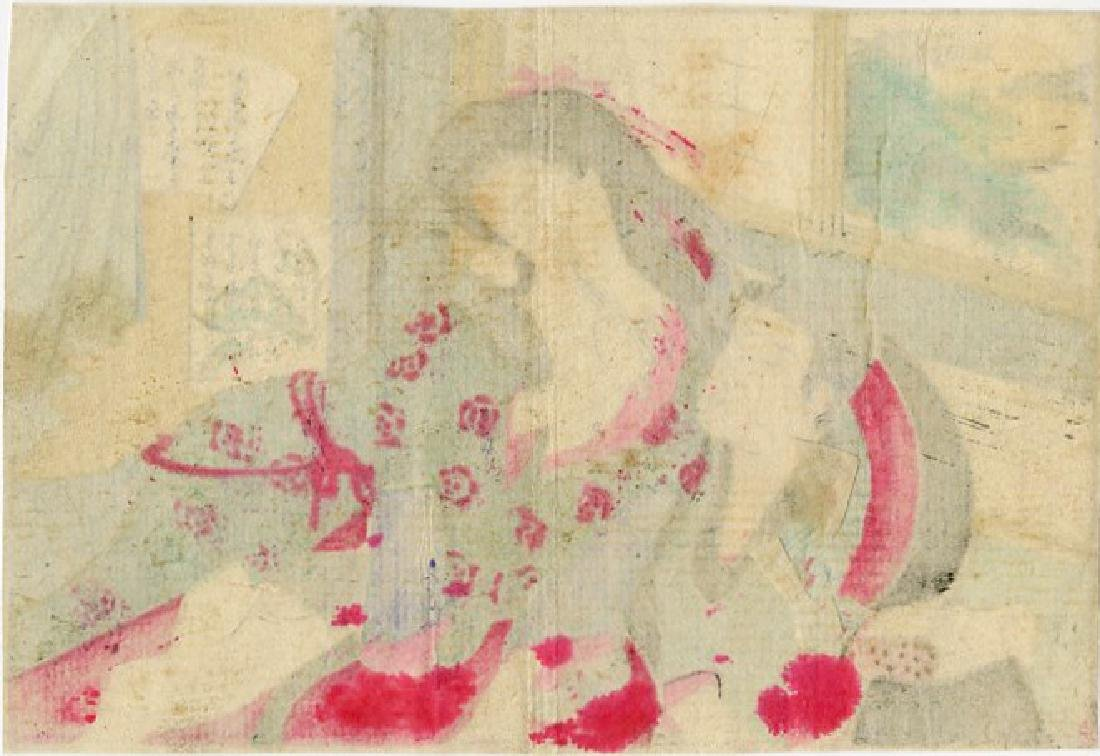 Unsigned - Couple in Bed shunga woodblock - 2