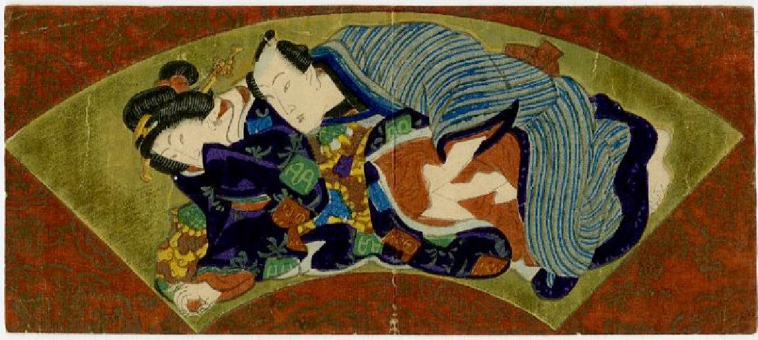 Unsigned - Couple Fan Design shunga woodblock