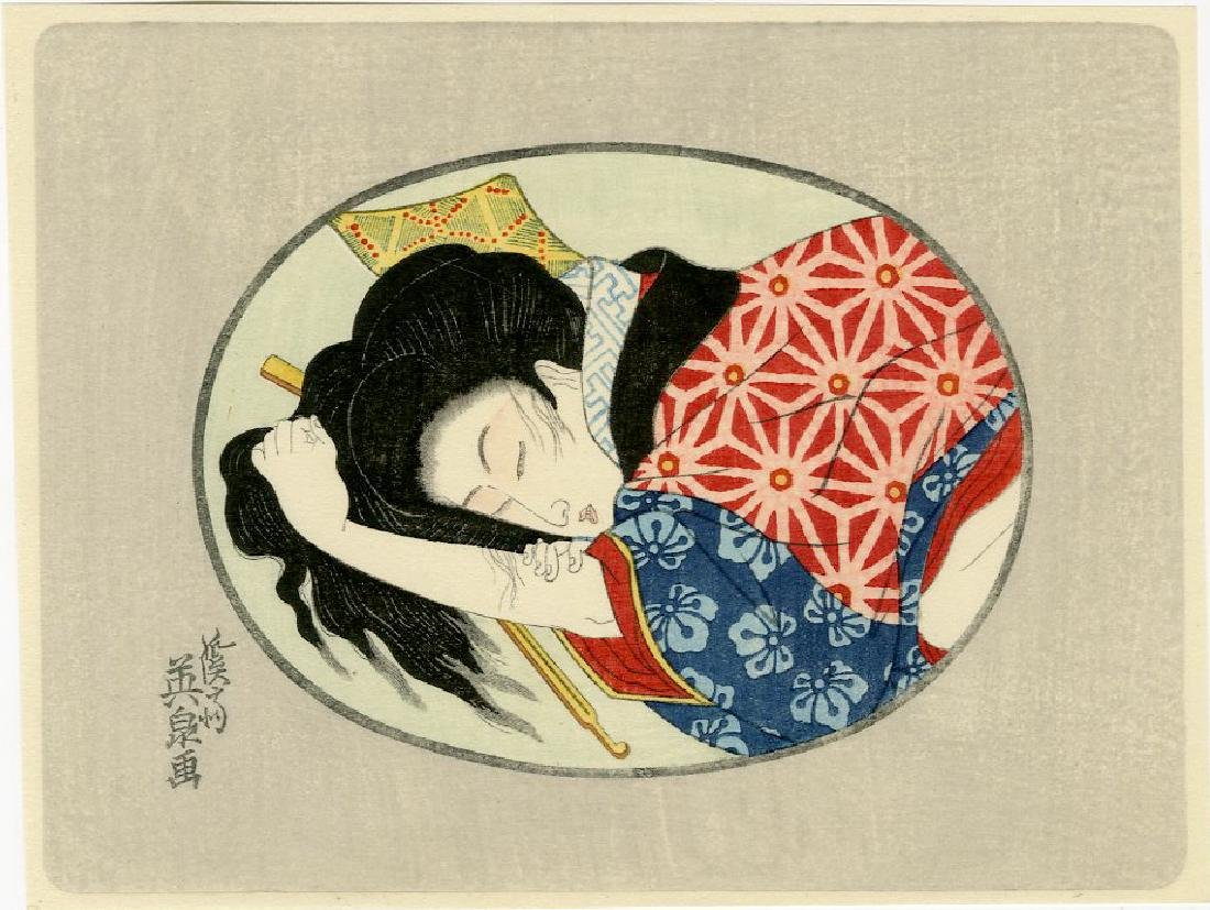 Eisen -- Oval Pillow Print shunga woodblock