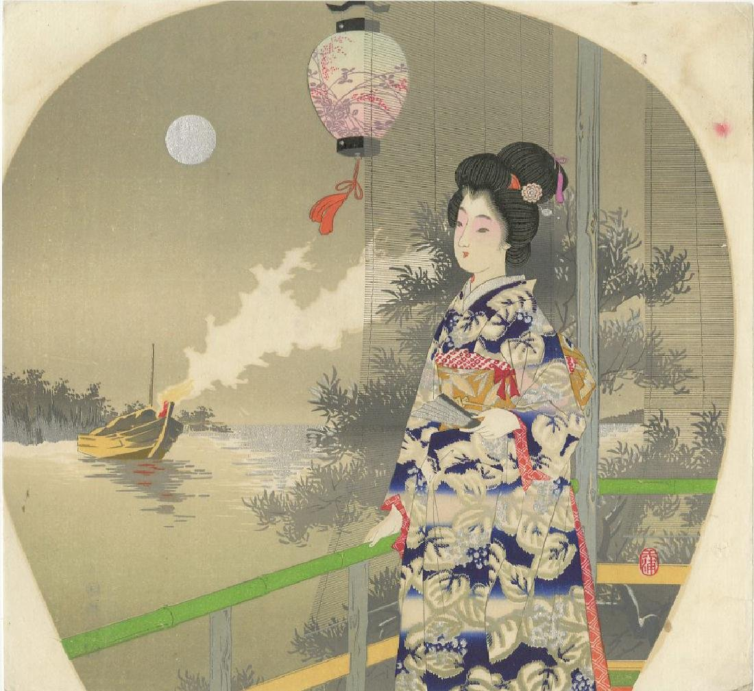 Fan Print - Beauty on Verandah c1890 woodblock