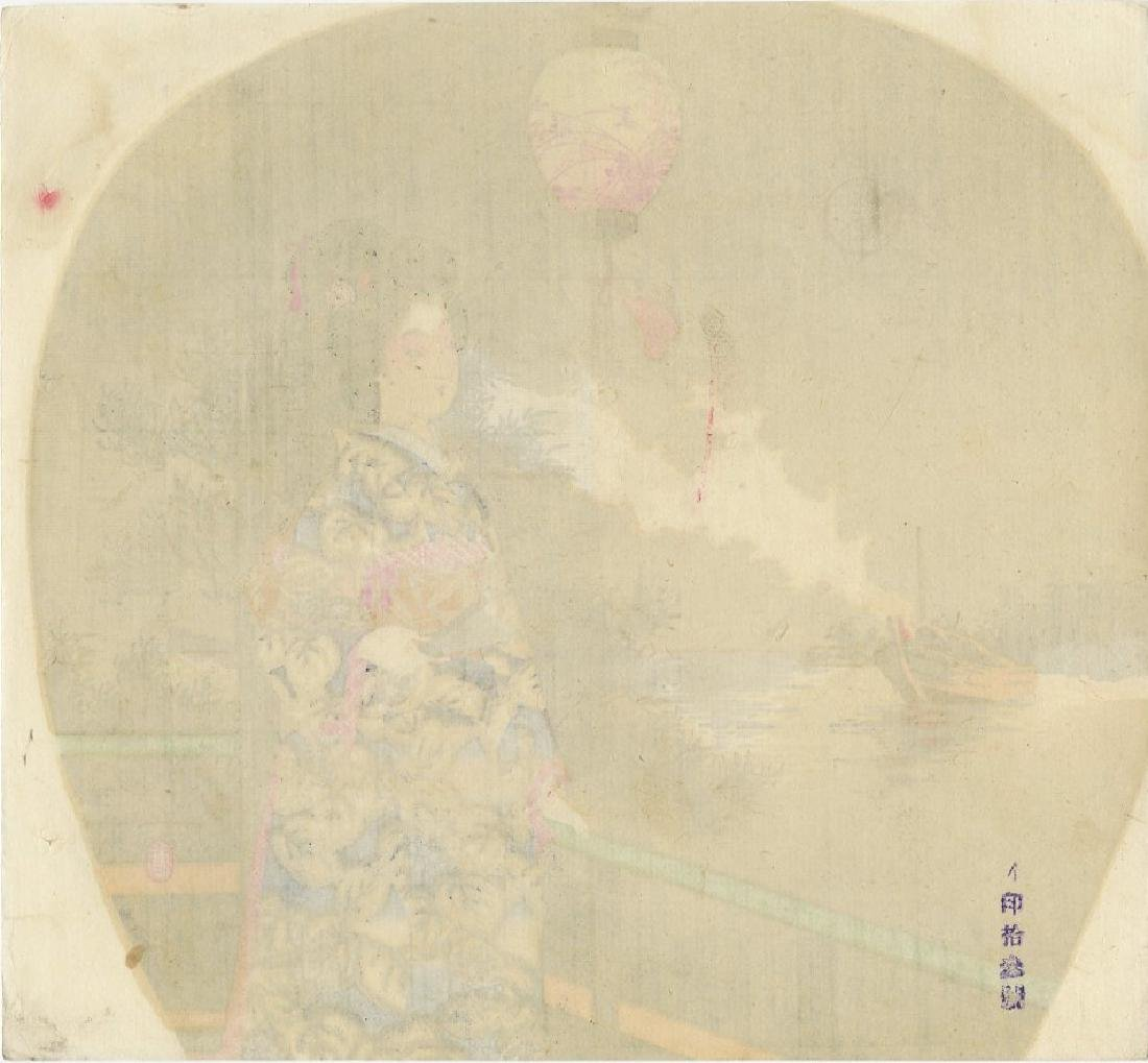 Fan Print - Beauty on Verandah c1890 woodblock - 2