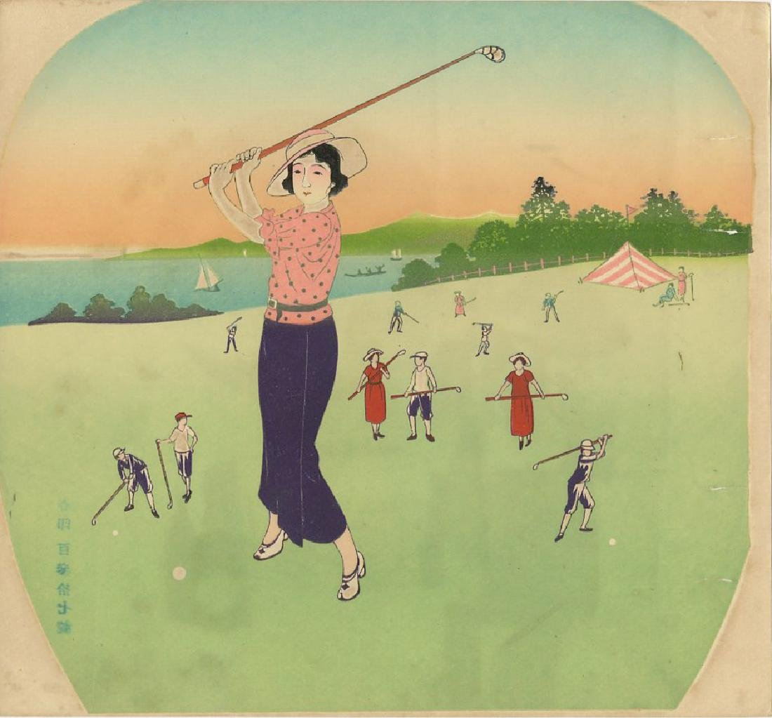 Fan Print - Beauty Golfing c1890 woodblock
