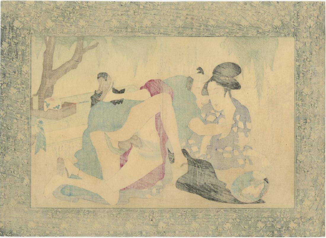 Unsigned -- Couple Embracing Inside shunga woodblock - 2