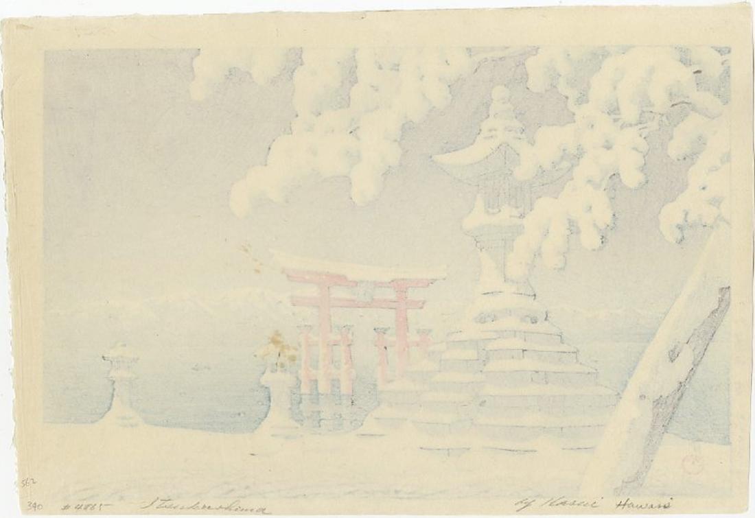 Hasui Kawase - Snow at Miyajima 1932 vintage woodblock - 2