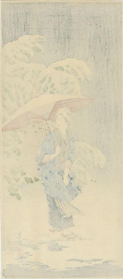 Hiroaki Shotei - Spring Snow 1924 MULLER woodblock - 2