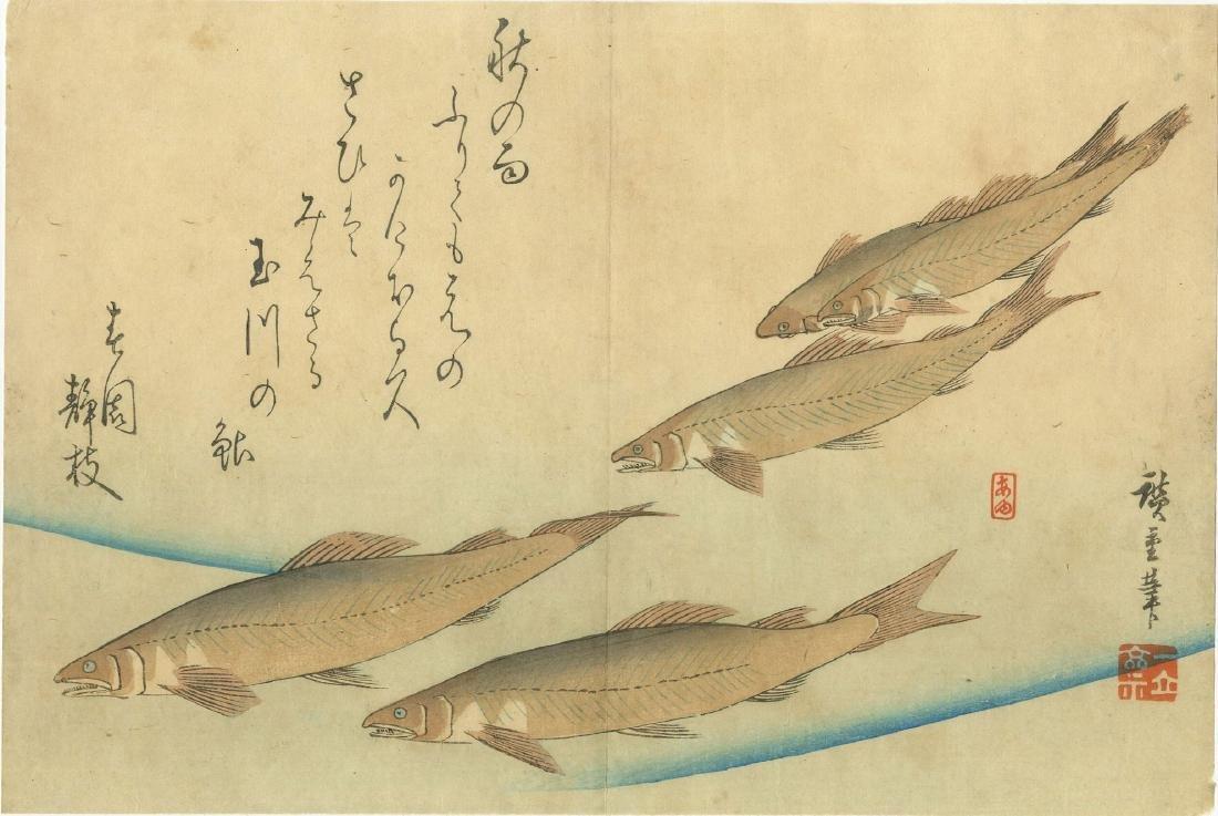 Hiroshige Ando: Trout 19th Century Woodblock