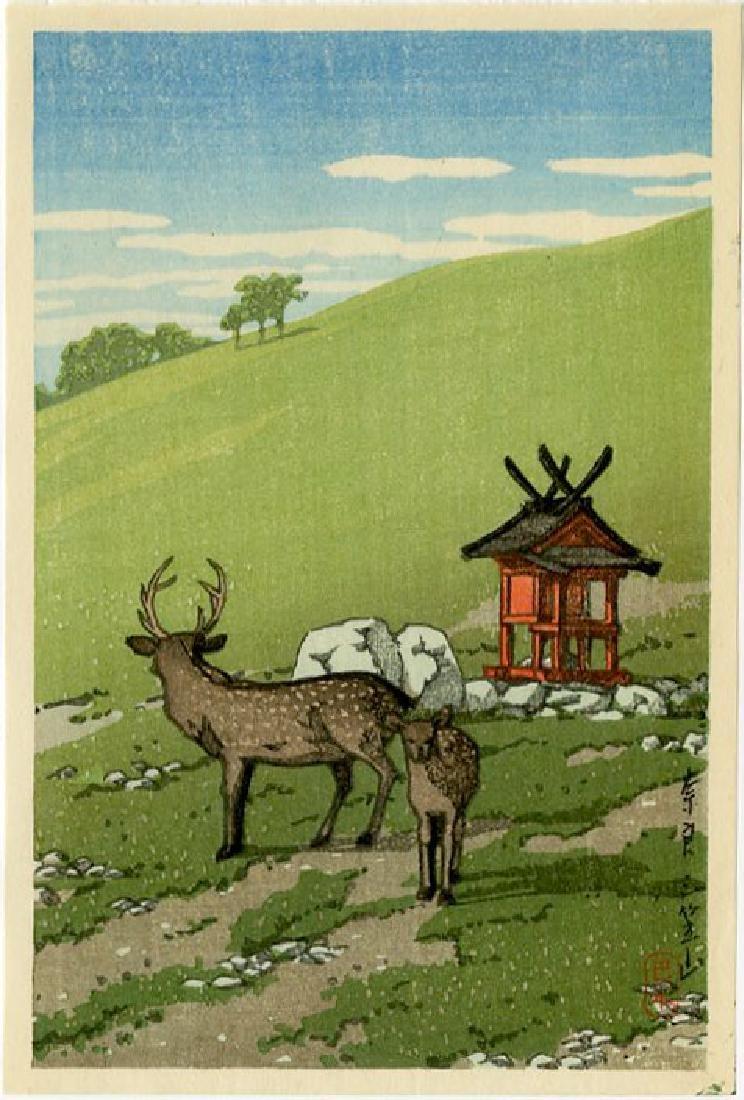 Hasui Kawase: Deer at Kasuga, Nara 1936 Woodblock
