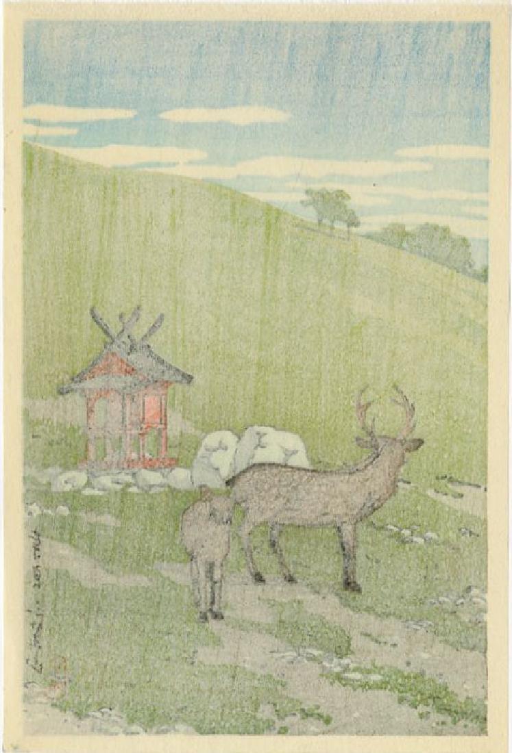 Hasui Kawase: Deer at Kasuga, Nara 1936 Woodblock - 2