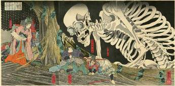 Kuniyoshi Princess and Skeleton Woodblock Triptych