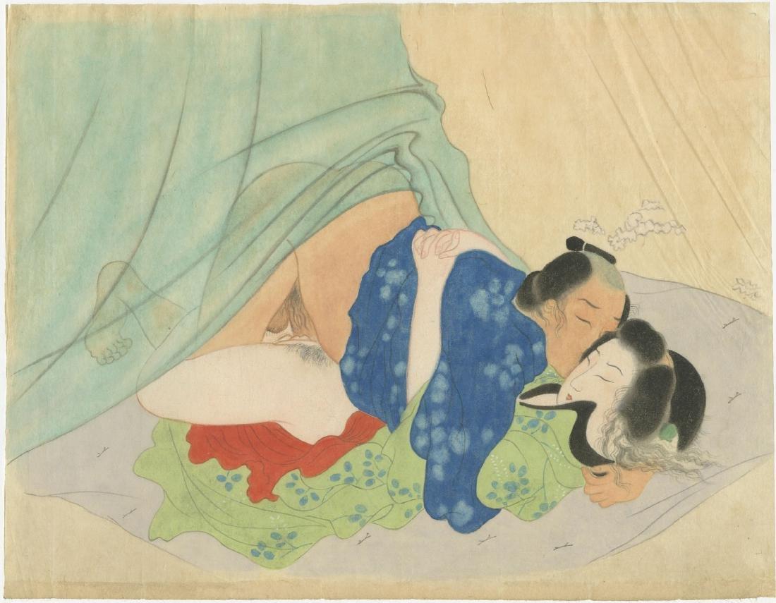 Shunga painting - Bedroom Scene 1920's original