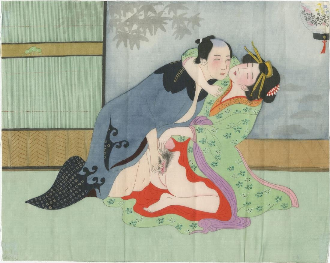 Shunga painting - Bedroom Scene c1890 original