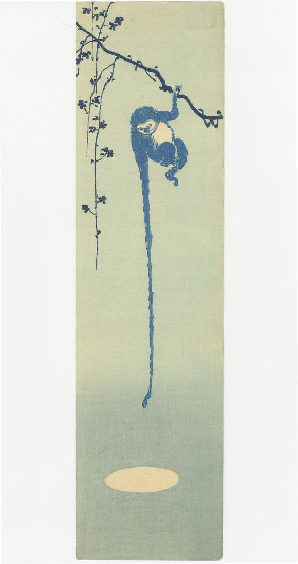 Unsigned - Monkey Reaching for the Moon woodblock c1910