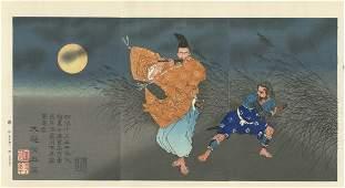 Yoshitoshi - Flute Player Moonlight Woodblock Triptych