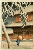 """Hasui: Zozoji Temple in Snow 1925 """"B"""" seal Woodblock"""