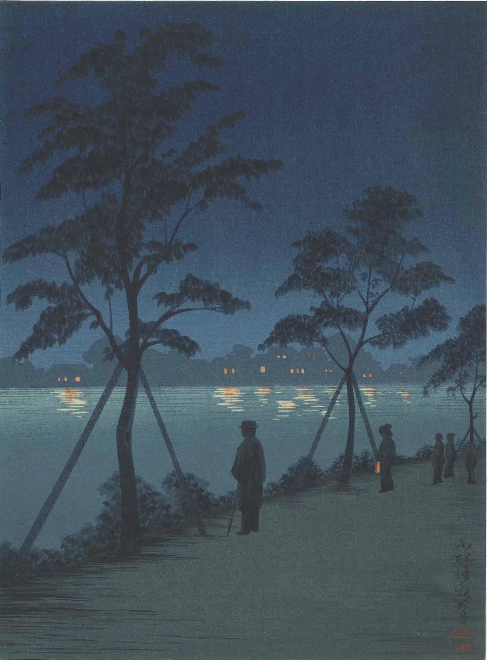 Kiyochika Kobayashi - Night at Sumida River c1920s