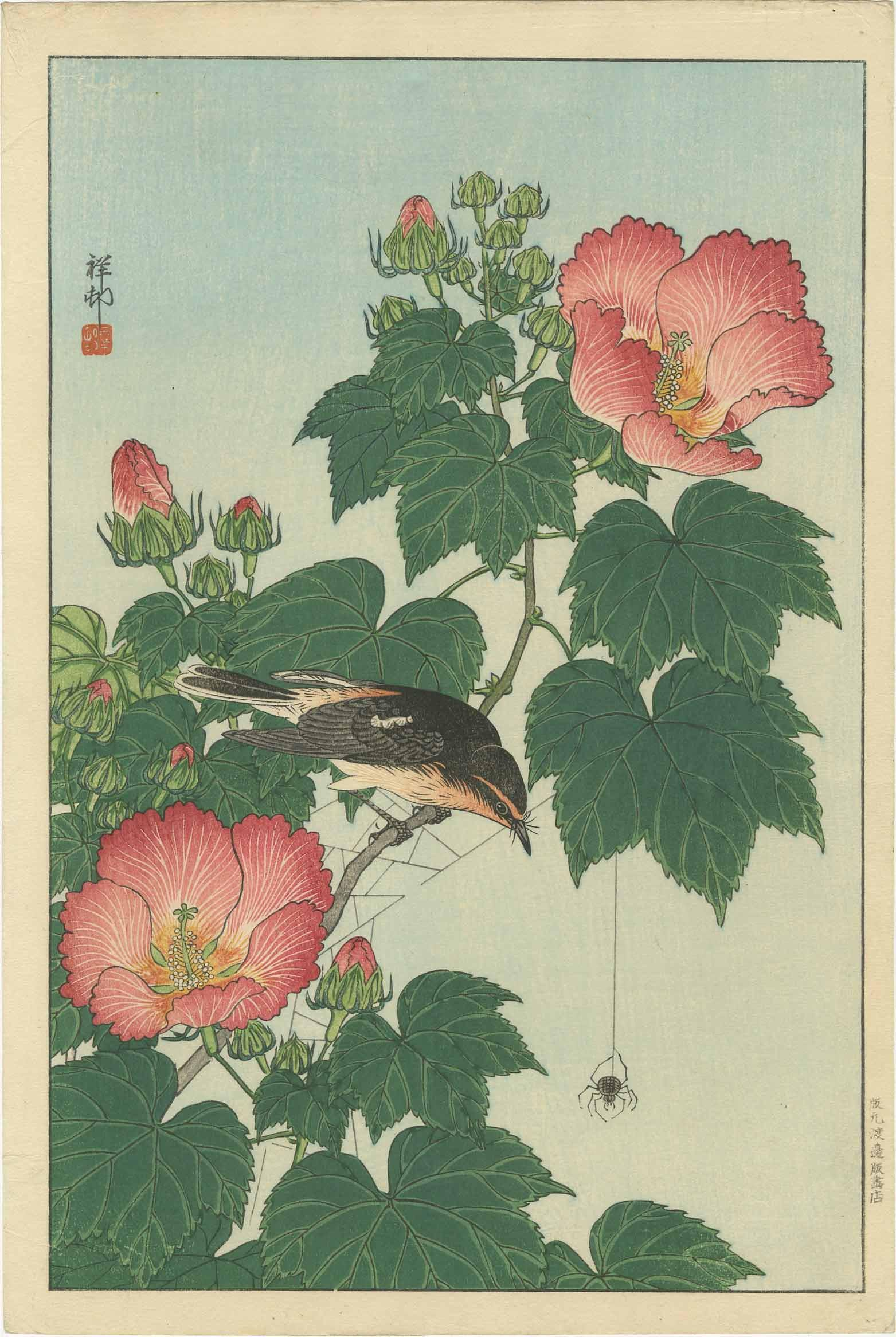 Ohara Koson - Fly-catcher and Spider 1932 woodblock