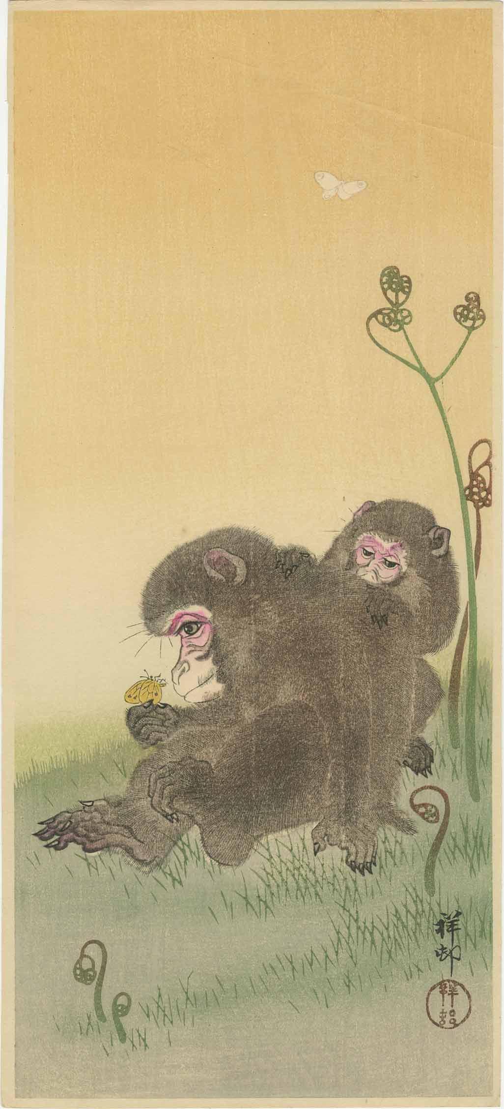Ohara Koson - Monkeys & Butterfly c1930 woodblock