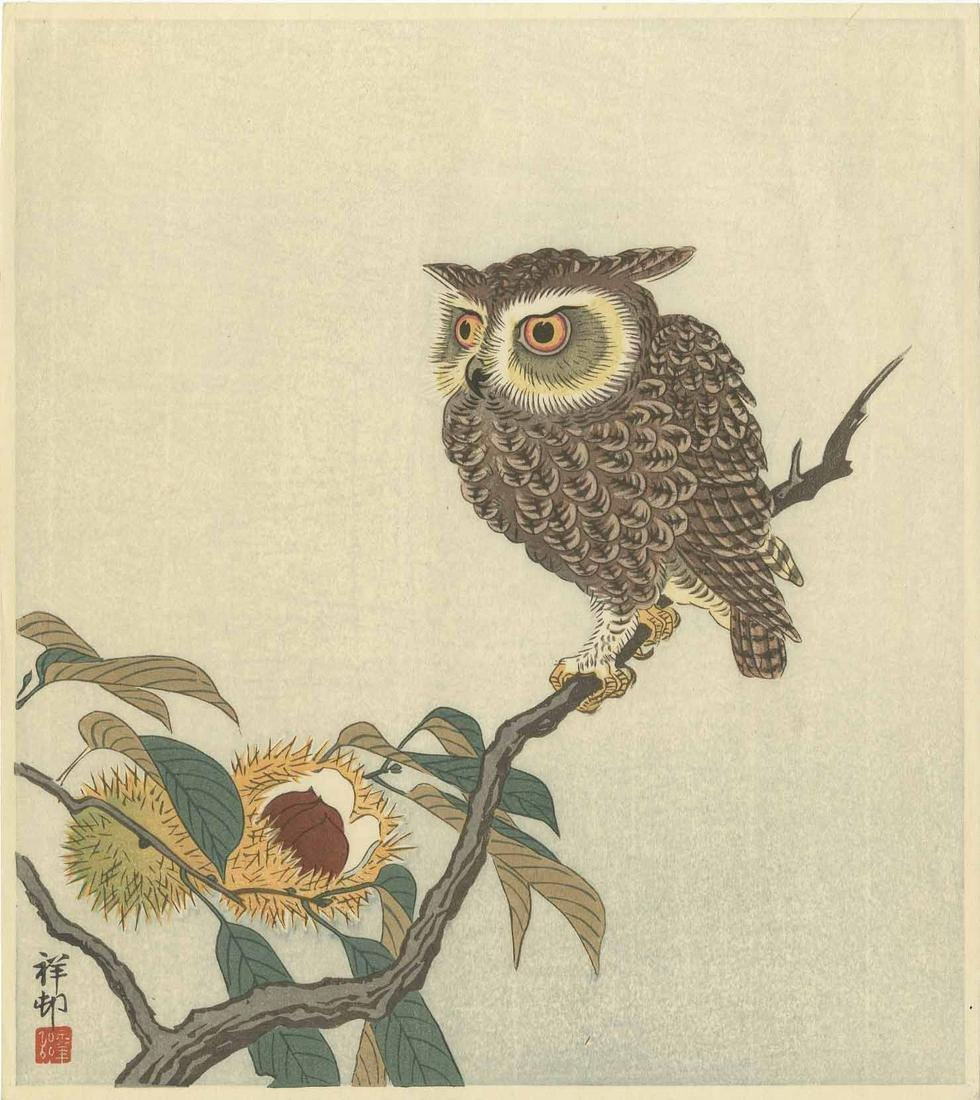 Ohara Koson - Scops Owl on Chestnut 1934 woodblock RARE