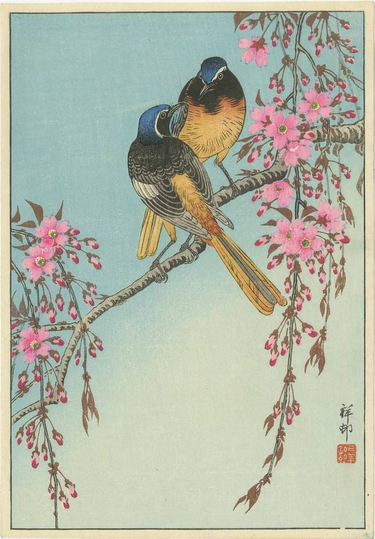Ohara Koson - Birds on Flowering Cherry c1930 woodblock