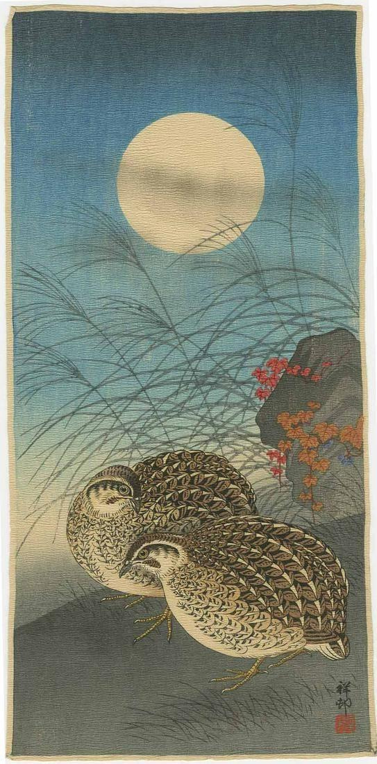 Ohara Koson - Quail under Moon c1930 woodblock