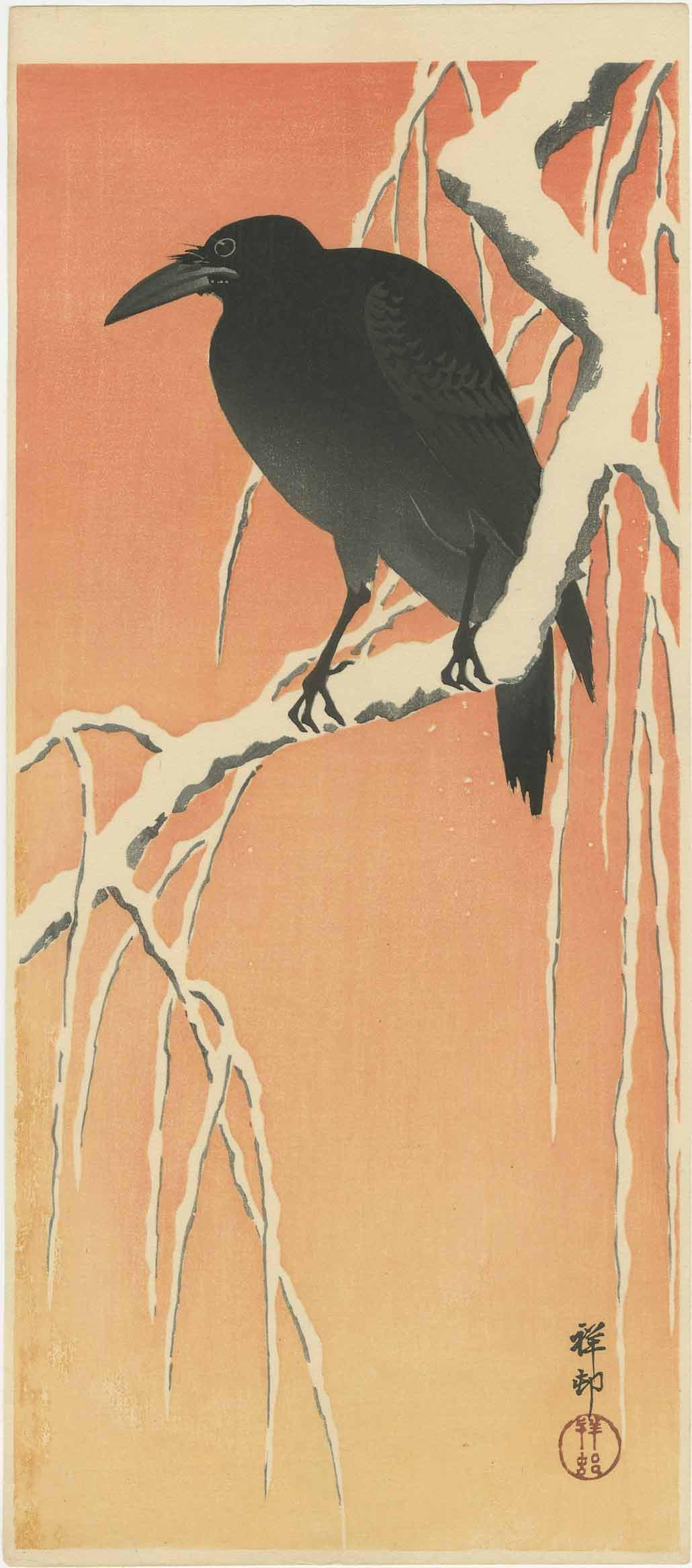 Ohara Koson - Crow on Snow-covered Willow at Dawn c1920