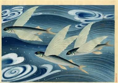 Bakufu Ohno: Flying Fish 1938 1st Ed. Woodblock