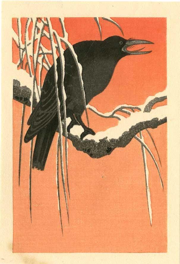 Ohara Koson - Crow on Snowy Branch woodblock 1920s
