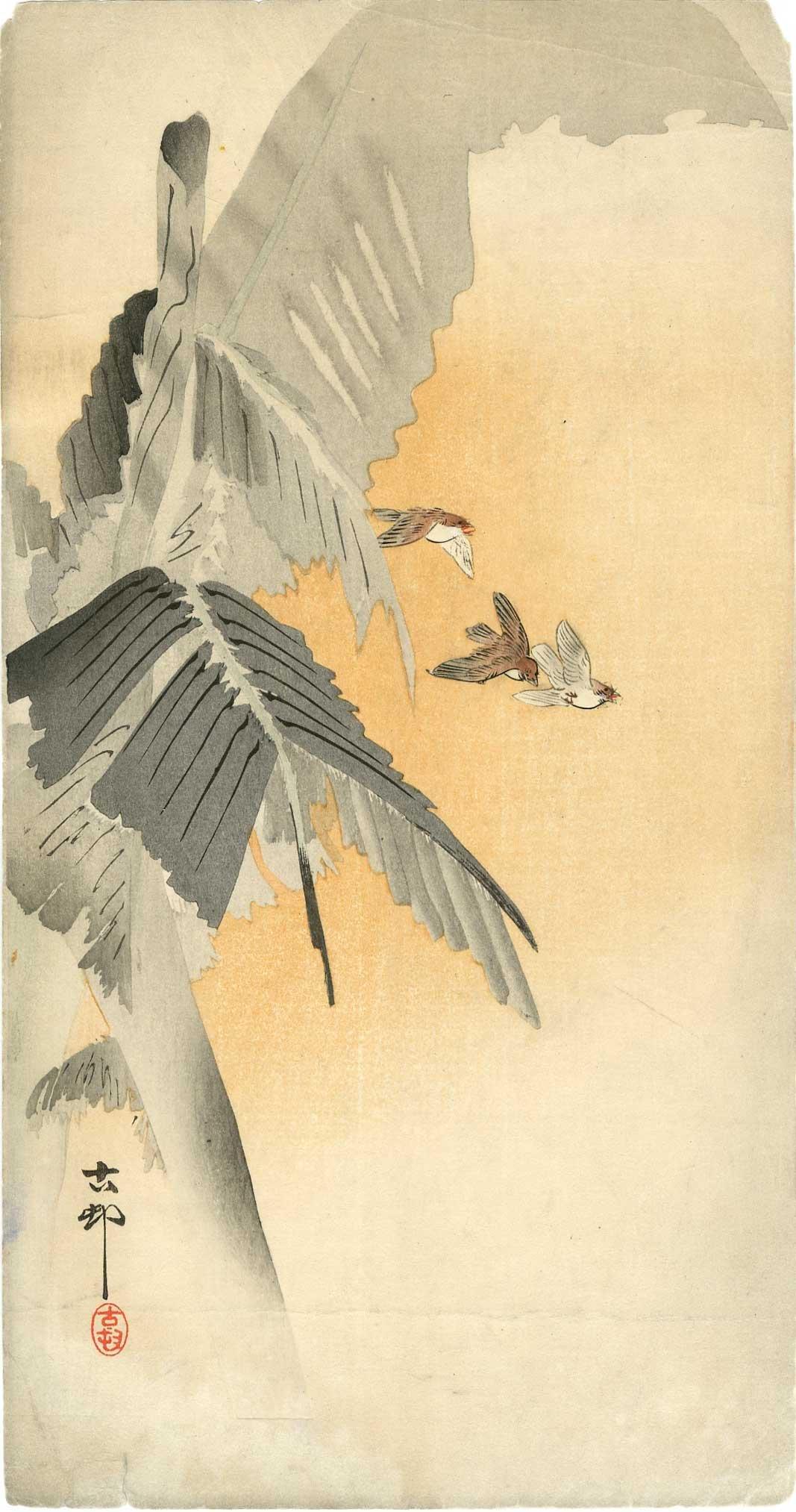 Ohara Koson - Tree Swallows Banana Tree c1910 Pre-EQ