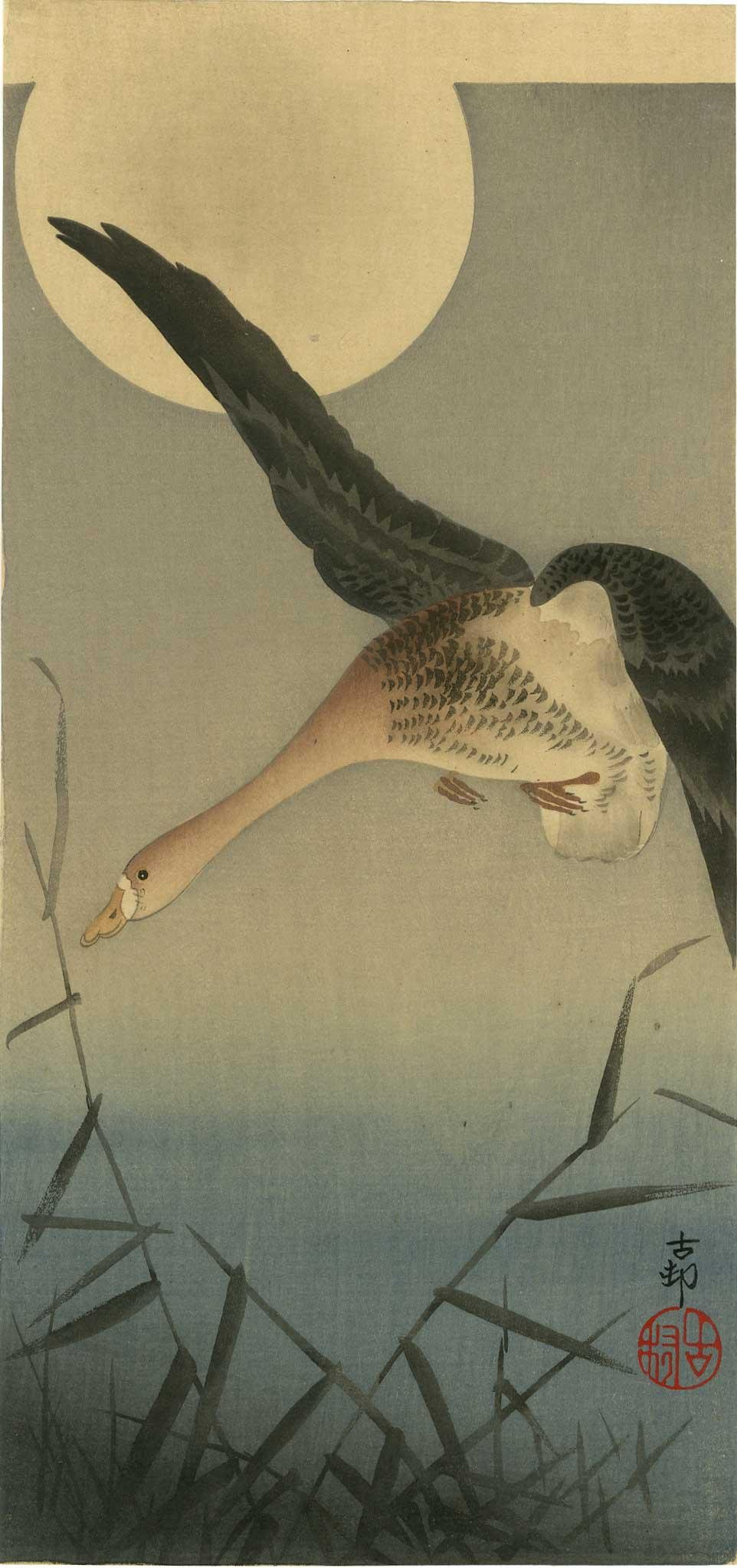 Ohara Koson - Goose Before Full Moon Pre-EQ woodblock