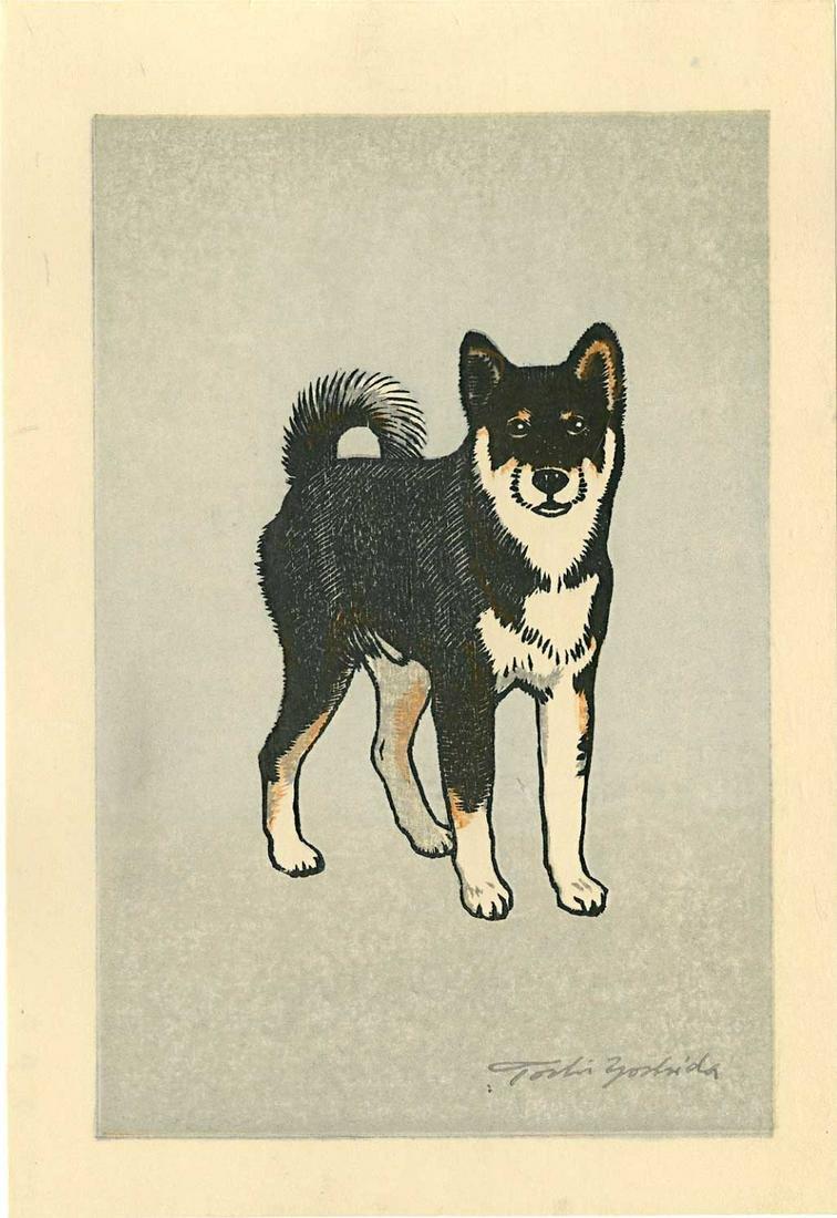 Toshi Yoshida: Monjiro Shiba Dog 1981 Woodblock
