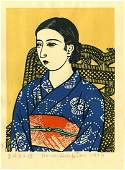 Unichi Hiratsuka: Beauty in Blue Kimono 1930 Woodblock