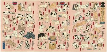 Kuniyoshi Cats of the Tokaido Road Woodblock