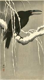 Ohara Koson - Crow on Snowy Branch woodblock 1920 RARE
