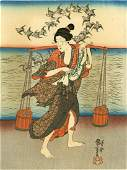 Kuniyoshi Woman Gathering Water Woodblock