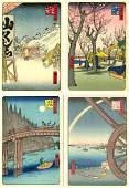 Hiroshige Four 4 Small Woodblock Prints