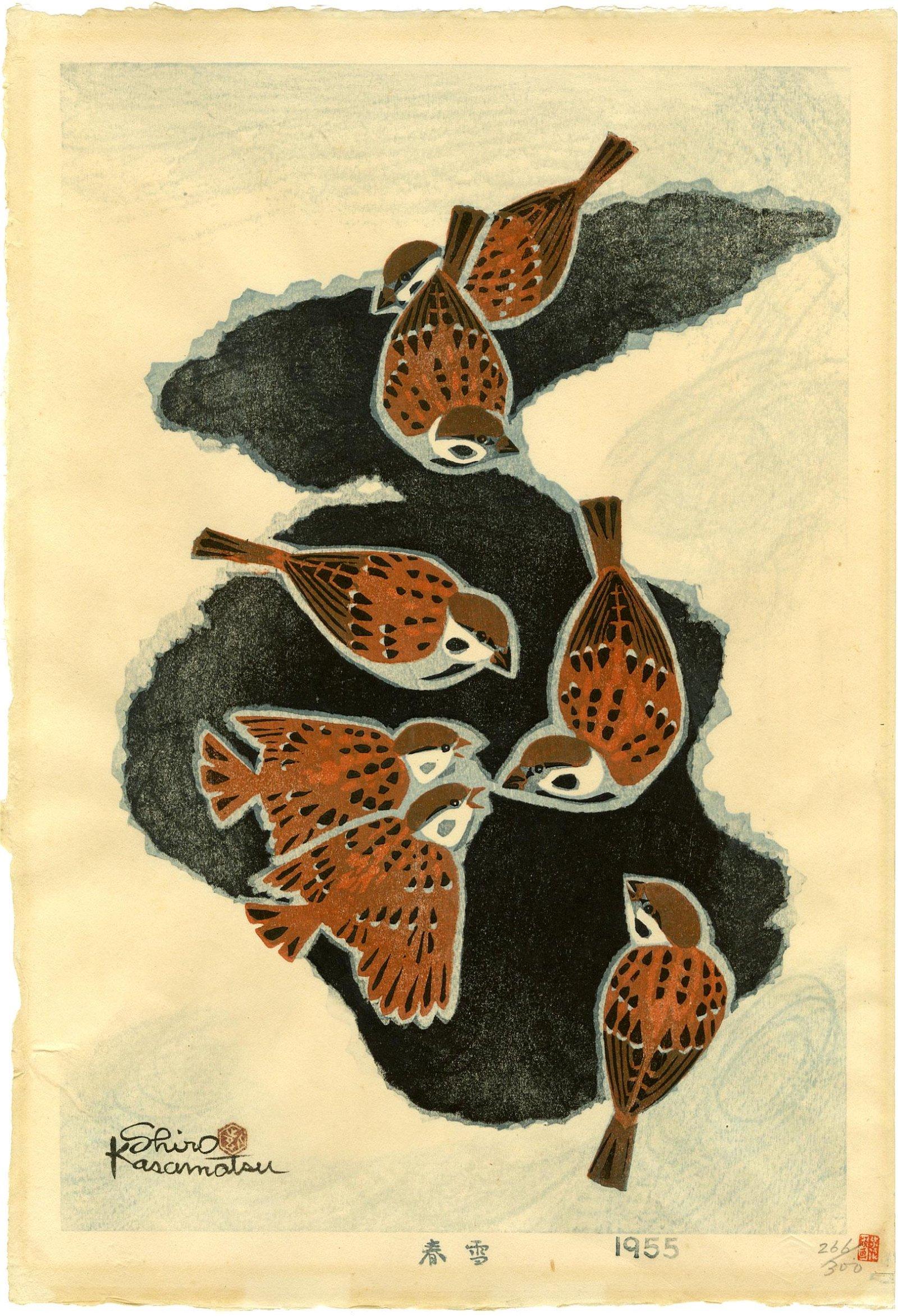Kasamatsu Shiro: Spring Snow 1955 1st Edition Woodblock