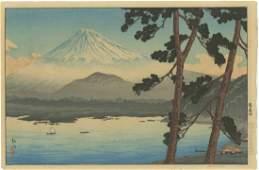 Shotei Takahashi - Fuji Lake Shojin 1929 Woodblock RARE