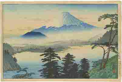 Shotei Hiroaki - Fuij Lake Motosu 1929 woodblock RARE