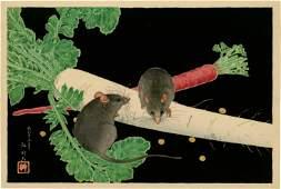 Shotei Hiroaki - Mice, Radish, Carrot 1926 MULLER RARE