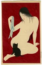 Hiroaki (Shotei Takahashi): Nude with Cat 1927